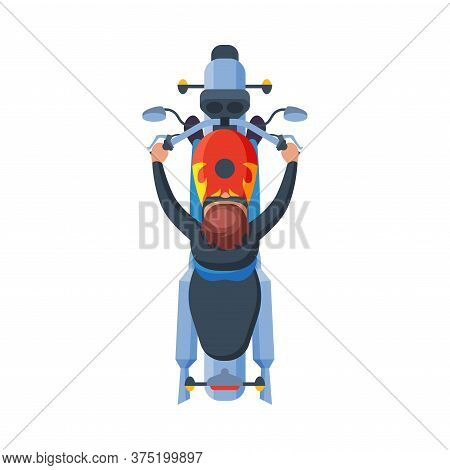 Male Motorcyclist Riding Motorcycle, View From Above Flat Vector Illustration