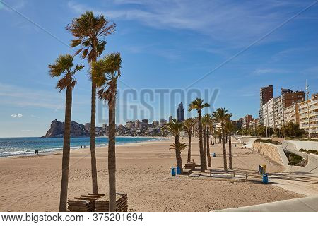Benidorm, Alicante, Spain - November 27, 2019: People Walk Along The Fantastic Modern Promenade Of P