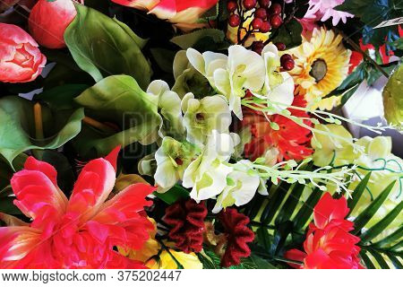 Plastic Color Flowers As Very Nice Background
