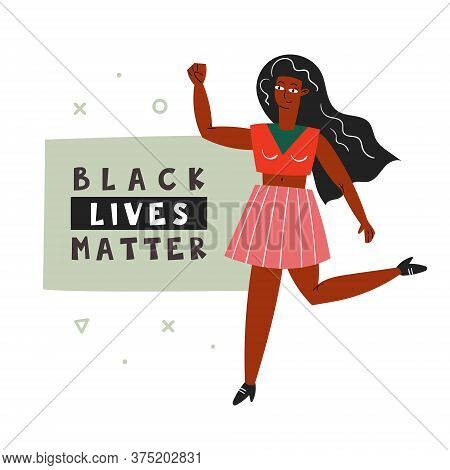 Black Lives Matter. Afro American Woman With Hand Up. Dark Skin Color. No Racism. Active Social Posi