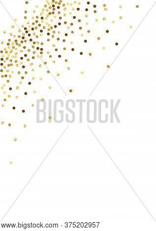Yellow Festive Polka Frame. Random Circle Texture. Golden Dot Glow Design. Vector Confetti Pattern.