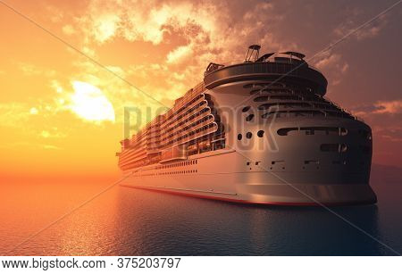A modern liner is in an ocean ,3d render