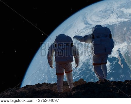 Group of astronauts are on the planet,.