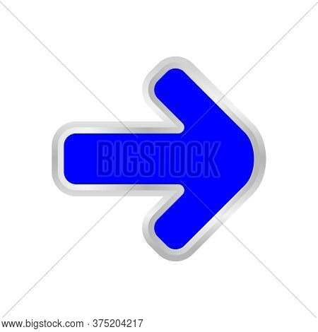 Blue Arrow Pointing Right Isolated On White, Clip Art Blue Arrow Icon Pointing To Right, Arrow Symbo