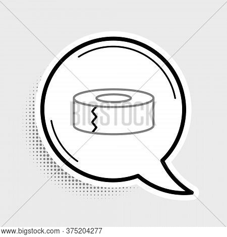 Line Scotch Icon Isolated On Grey Background. Roll Of Adhesive Tape For Work And Repair. Sticky Pack