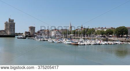 La Rochelle , Aquitaine / France - 11 19 2019 : Famous Old Port Harbour In La Rochelle France In Web