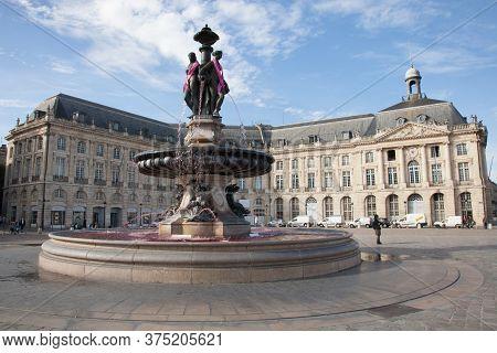 Bordeaux , Aquitaine / France - 10 30 2019 : Bordeaux Place De La Bourse Famous Square With Fountain