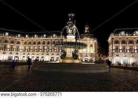 Bordeaux, Gironde / France - May 11 2018 : Place De La Bourse Bordeaux City Has A Rich History And T