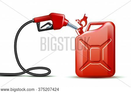 Gas Pump Nozzle And Red Jerrycan Canister Gallon Isolated On White Background