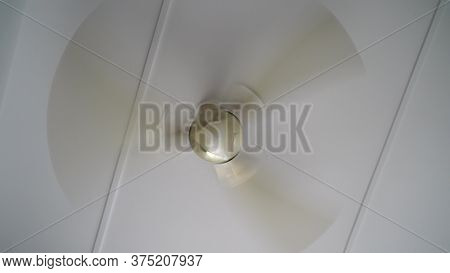 Rotation Of A Ceiling Fan. A Typical Household Ceiling Fan In Motion.