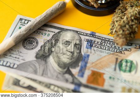 Marijuana Weed Bud And Grinder. The Pot Leaves On Buds. Cannabis Nature Bud. Joint Weed.