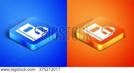 Isometric Audio Book Icon Isolated On Blue And Orange Background. Book With Headphones. Audio Guide