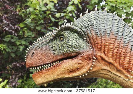 An Allosaurus Hunts In A Jurassic Jungle