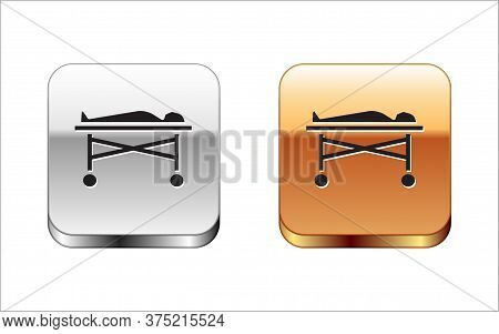 Black Dead Body In The Morgue Icon Isolated On White Background. Silver-gold Square Button. Vector