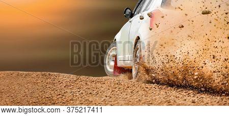 Rally Race Car Drifting On Dirt Track.