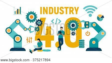 Smart Industry 4.0 Concept. Industrial Revolutions Steps. Factory Automation. Autonomous Industrial