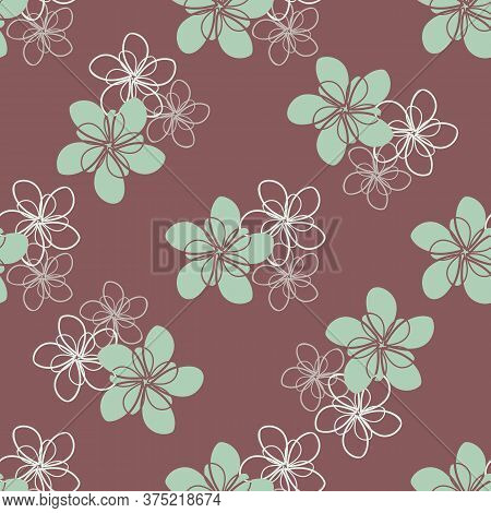 Green White Vector Flowers Seamless Pattern Background. Trios Of Mint Color Hand Drawn Filled And Ou