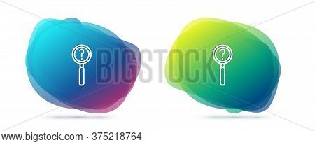 Set Line Magnifying Glass With Search Icon Isolated On White Background. Detective Is Investigating.