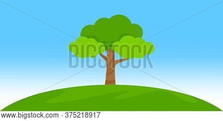 Tree Landscape On Hill, Clip Art Simple Tree, Single Tree, Tree On Island Hill And Sky Summer Day Ti