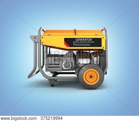 Portable Gasoline Generator Isolated On A Blue Gradient Background 3d Render