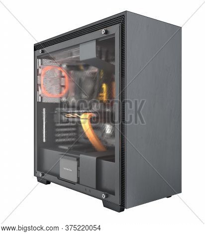 Computer Closed Transparent Cover With Red Lighting Effects And Water Cooled Cooling System On White
