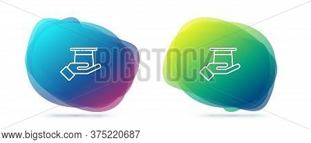Set Line Magician Hat In Hand Icon Isolated On White Background. Magic Trick. Mystery Entertainment