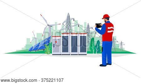 Electrician Technician Engineer Diagnostics Electricity Power Supply Grid Transmission