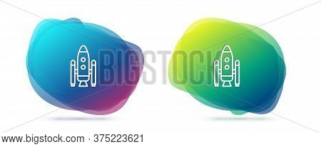 Set Line Space Shuttle And Rockets Icon Isolated On White Background. Abstract Banner With Liquid Sh