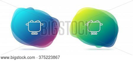Set Line Egg In Hot Pot Icon Isolated On White Background. Boiled Egg. Happy Easter. Abstract Banner