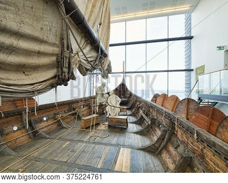 18 April 2018: Keflavik, Iceland - On Board The Islendingur, A Replica Of The Gokstad Viking Ship At