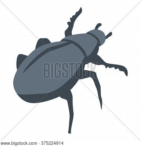 Black Scarab Beetle Icon. Isometric Of Black Scarab Beetle Vector Icon For Web Design Isolated On Wh