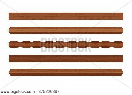 Wooden Lath Different Dark Brown Color Isolated On White, Wooden Slat Poles, Lath Wood For Home Deco