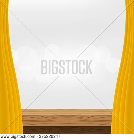 Wood Table And Luxury Yellow Gold Curtains For Advertise Product Display, Wooden Top Table Decoratio