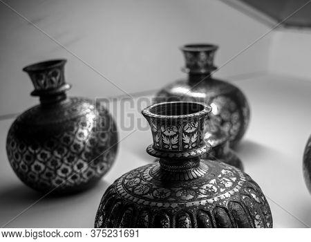 Handmade Vintage Metal Pots Items Of Mehrangarh Fort Of Jodhpur Rajasthan