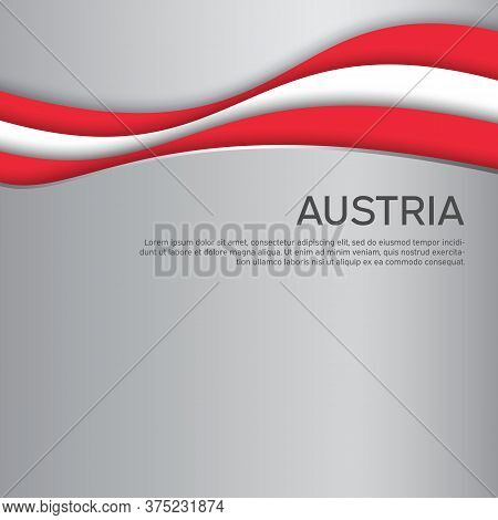 Abstract Waving Flag Of Austria. Paper Cut Style. Creative Background For The Design Of The Patrioti