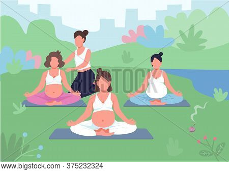 Yoga Class Outdoors Flat Color Vector Illustration. Meditation With Coach In Park. Prenatal Training