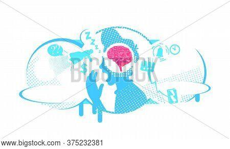 Procrastination Problem Flat Concept Vector Illustration. Distraction To External Stimuli. 2d Cartoo