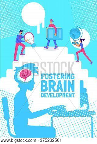 Fostering Brain Development Poster Flat Vector Template. Encouraging Child To Study. Brochure, Bookl