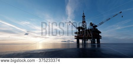 Oil platform on the ocean. Offshore drilling for gas and petroleum or crude oil. Industrial 3D illustration