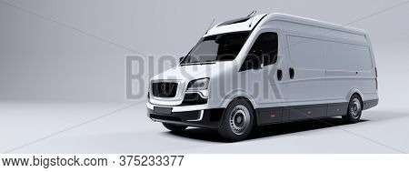 Commercial van truck on white background. Transport, shipping industry. 3D illustration