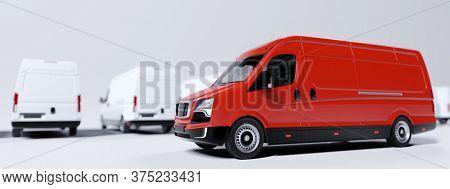 Red commercial van and fleet of white trucks. Transport, shipping industry. 3D illustration