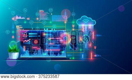 Software Development, Web Coding On Laptop. Synchronization Work Data With Cloud Storage. Programmin