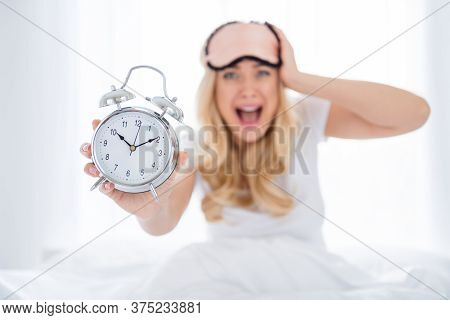Oh No I Late. Photo Of Crazy Shocked Fear Lady Sitting Bed Sheets Holding Metal Alarm Clock Morning