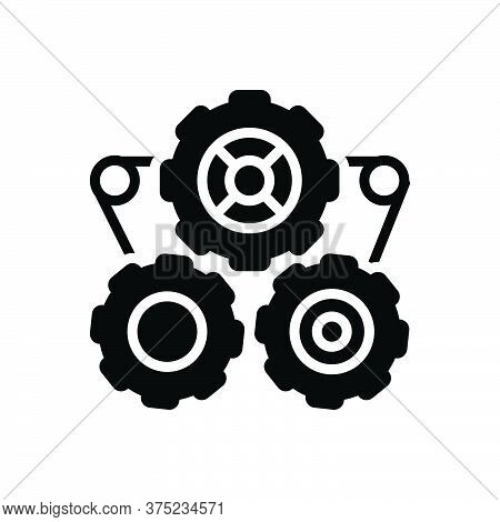 Black Solid Icon For Gears Engine Seo Machine Performance Automobile Motor Machinery Settings Transm