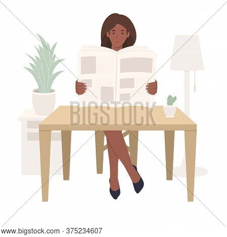 Young African American Girl Sitting At A Table And Reading A Newspaper, Black Woman Reads Press Or M