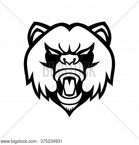 Black And White Mascot Illustration Of Head Of An Angry Giant Panda Or Panda Bear, A Bear Native To