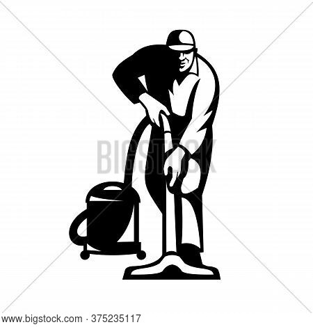 Illustration Of A Janitor Cleaner Worker Vacuuming Cleaning With Vacuum Cleaner Facing Front On Isol