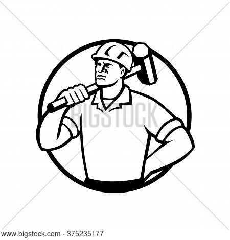 Mascot Illustration Of A Black African American Demolition Worker, Laborer Or Construction Worker Wi