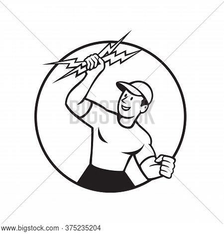Black And White Illustration Of An Electrician, Power Lineman, Construction Worker Holding Up A Ligh
