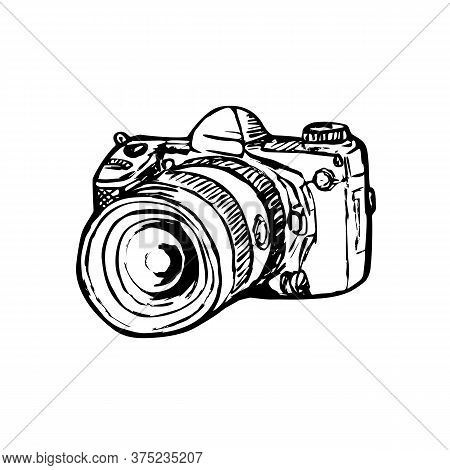 Drawing Sketch Style Illustration Of A Dslr Digital Still Image Camera With Zoom Lens Viewed From Si